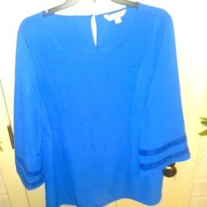 Counterparts Bright Blue Lace Trim Bell Blouse -L